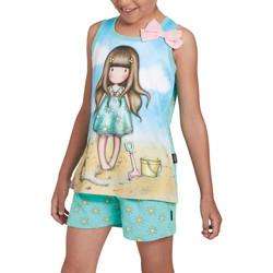 Kleidung Mädchen Pyjamas/ Nachthemden Admas Pyjama Mädchen kurz Tank Top Hallo Sommer Santoro Blau