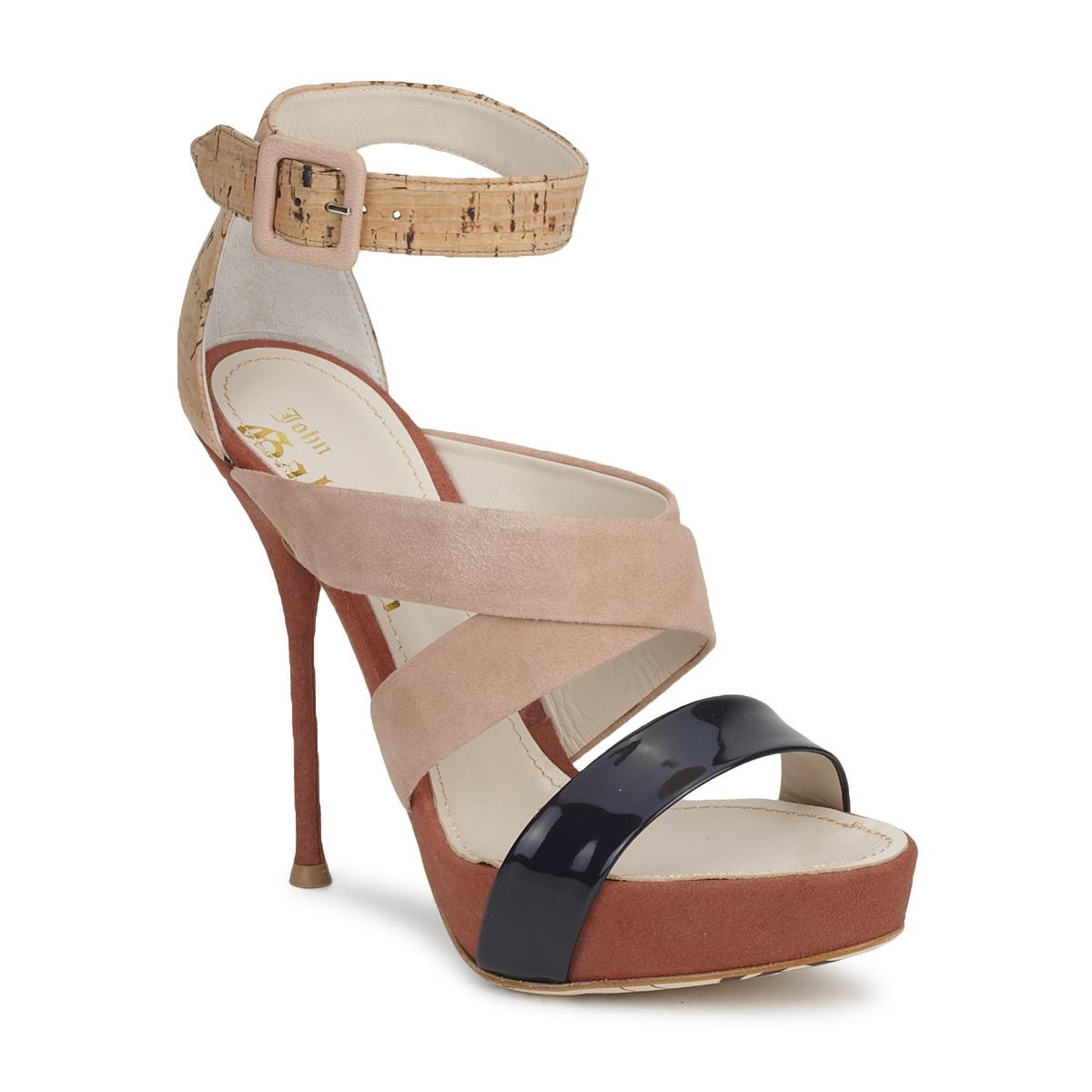 John Galliano AN6363 Rose / Marine / Beige - Kostenloser Versand bei Spartoode ! - Schuhe Sandalen / Sandaletten Damen 297,50 €
