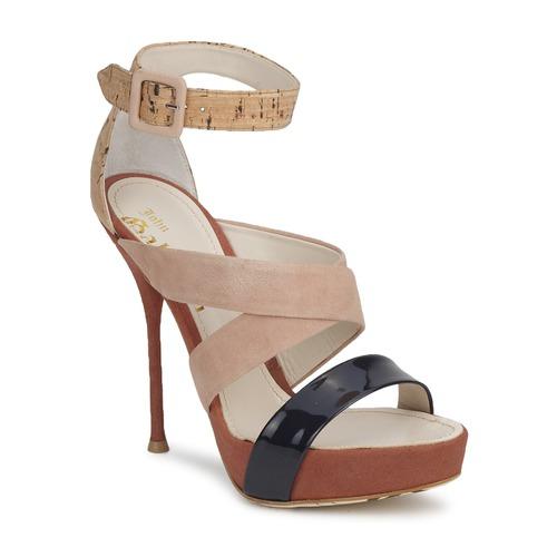 John Galliano AN6363 Rose / Marine / Beige  Schuhe Sandalen / Sandaletten Damen 238