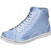Schuhe Damen Sneaker High Andrea Conti Schnuerschuhe High Sneaker Blau Gelocht 0347905-013 blau