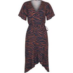 Kleidung Damen Kleider Lisca Lima  mittellanges Sommerkleid mit kurzen Ärmeln Violett/oranget