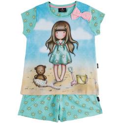Kleidung Mädchen Pyjamas/ Nachthemden Admas Pyjama Mädchen Shorts T-shirt Hallo Sommer Santoro blau Blau