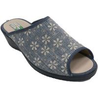 Schuhe Damen Hausschuhe Made In Spain 1940 Open Flower Flip Flops für Frauen Albero Blau