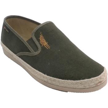Schuhe Herren Leinen-Pantoletten mit gefloch Made In Spain 1940 Herrenschuhe mit Hanfkante Alberola grün Beige