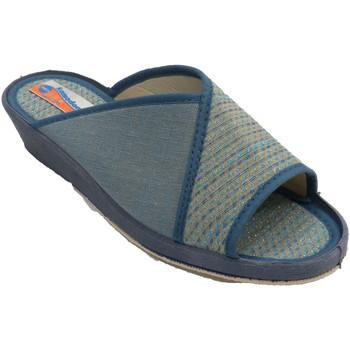 Schuhe Damen Hausschuhe Made In Spain 1940 Offene Flip Flops für Frauen mit Tupfen Blau
