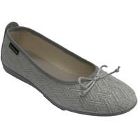 Schuhe Damen Hausschuhe Made In Spain 1940 Damenwohnungen Schuhe Silberfäden Albero Grau