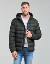 Kleidung Herren Daunenjacken Geox SANDFORD Schwarz / Khaki