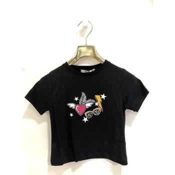 Kleidung Mädchen T-Shirts Vicolo 3146M0379 T-shirt Kind SCHWARZ SCHWARZ