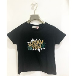 Kleidung Mädchen T-Shirts Vicolo 3146M0485 T-shirt Kind SCHWARZ SCHWARZ