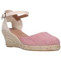 Schuhe Damen Leinen-Pantoletten mit gefloch Carmen Garcia 52S5 GRANATE Mujer Burdeos rouge