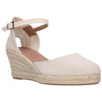 Schuhe Damen Leinen-Pantoletten mit gefloch Carmen Garcia 52S5 TAUPE Mujer Taupe marron
