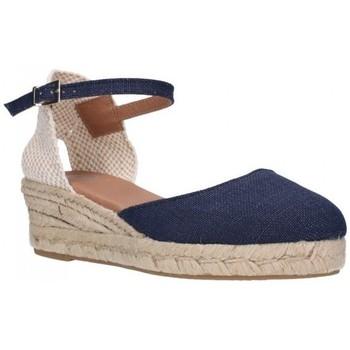 Schuhe Damen Leinen-Pantoletten mit gefloch Carmen Garcia 52S3 SUP MARINO Mujer Azul marino bleu