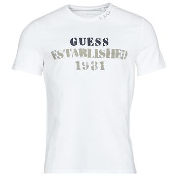Kleidung Herren T-Shirts Guess WORKFOR CN SS TEE Weiss
