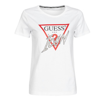 Kleidung Damen T-Shirts Guess SS CN ICON TEE Weiss