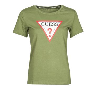 Kleidung Damen T-Shirts Guess SS CN ORIGINAL TEE Kaki