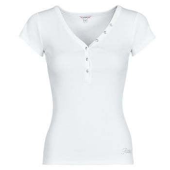 Kleidung Damen T-Shirts Guess ES SS V NECK LOGO HENLEY TEE Weiss
