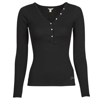 Kleidung Damen Langarmshirts Guess ES LS V NECK LOGO HENLEY TEE Schwarz
