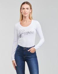 Kleidung Damen Langarmshirts Guess LS CN RAISA TEE Weiss