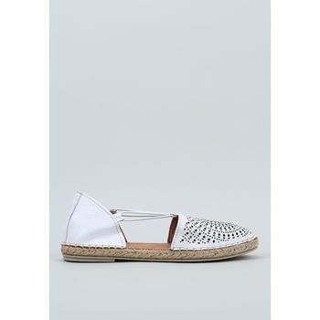 Schuhe Damen Leinen-Pantoletten mit gefloch Krack  Weiss