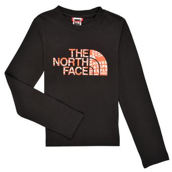 Kleidung Jungen Langarmshirts The North Face EASY TEE LS Schwarz