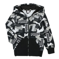Kleidung Jungen Sweatshirts Puma ALPHA AOP FZ Schwarz