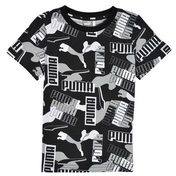 Kleidung Jungen T-Shirts Puma ALPHA AOP TEE Schwarz