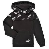 Kleidung Jungen Sweatshirts Puma PUMA POWER AOP HOODIE Schwarz