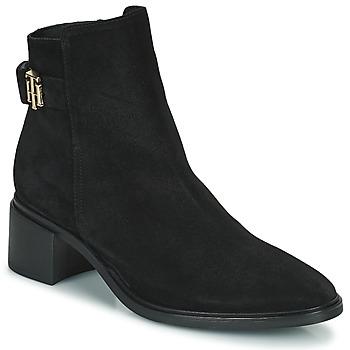 Schuhe Damen Boots Tommy Hilfiger HARDWARE TH MID HEEL BOOT Schwarz