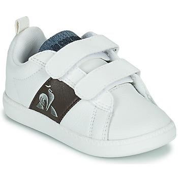 Schuhe Kinder Sneaker Low Le Coq Sportif COURTCLASSIC INF Weiss / Braun