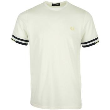 Kleidung Herren T-Shirts Fred Perry Abstract Cuff T-Shirt Weiss
