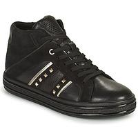 Schuhe Damen Sneaker High Geox LEELU Schwarz / Silbern
