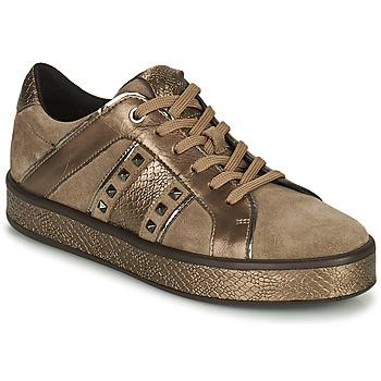 Schuhe Damen Sneaker Low Geox LEELU Braun / Gold