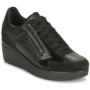 Schuhe Damen Sneaker Low Geox ILDE Schwarz