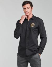 Kleidung Herren Langärmelige Hemden Versace Jeans Couture SLIM PRINT V EMBLEM GOLD Schwarz / Gold