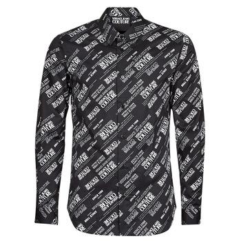 Kleidung Herren Langärmelige Hemden Versace Jeans Couture SLIM PRINT WARRANTY Schwarz / Weiss
