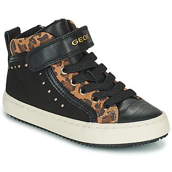 Schuhe Mädchen Sneaker High Geox KALISPERA Schwarz / Leopard