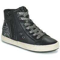 Schuhe Mädchen Sneaker High Geox KALISPERA Schwarz / Silbern