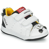 Schuhe Jungen Sneaker Low Geox NEW FLICK Weiss / Schwarz / Rot