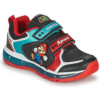 Schuhe Jungen Sneaker Low Geox ANDROID Schwarz / Blau / Rot