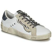 Schuhe Damen Sneaker Low Meline NK139 Weiss / Glitterfarbe / Blau