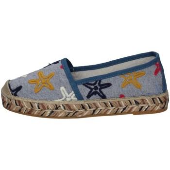 Schuhe Damen Leinen-Pantoletten mit gefloch Vidorreta 00700 HELLBLAU