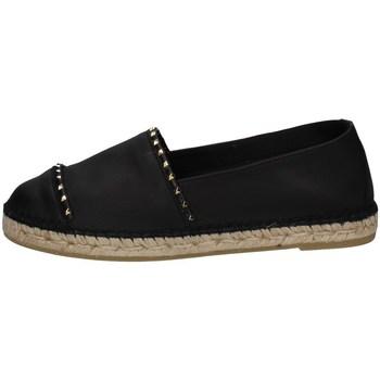 Schuhe Damen Leinen-Pantoletten mit gefloch Vidorreta 00333 SCHWARZ