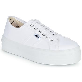Schuhe Damen Sneaker Low Victoria BLUCHER LONA PLATAFORMA Weiss