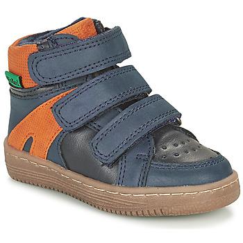 Schuhe Jungen Boots Kickers LOGGAN Marine / Orange