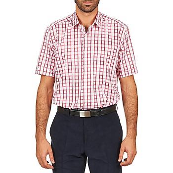 Kleidung Herren Kurzärmelige Hemden Pierre Cardin CH MC CARREAU GRAPHIQUE Weiss / Rot