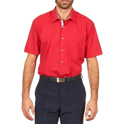 Kleidung Herren Kurzärmelige Hemden Pierre Cardin CH MC POPELINE UNIE - OPPO RAYURE INTERIEUR COL & POIGNET Rose / Rot