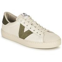 Schuhe Damen Sneaker Low Victoria BERLIN PIEL CONTRASTE Weiss / Kaki
