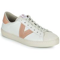 Schuhe Damen Sneaker Low Victoria BERLIN PIEL CONTRASTE Weiss / Rose