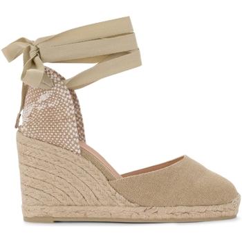 Schuhe Damen Pumps Castaner Sandalo con zeppa Carina in tela e tessuto color sabbia Beige