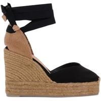 Schuhe Damen Sandalen / Sandaletten Castaner Sandalo con zeppa Chiara in tela e tessuto nero Schwarz